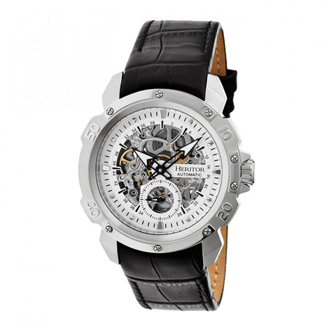 Heritor Automatic Conrad Skeleton Leather-Band Watch - Silver HERHR2503