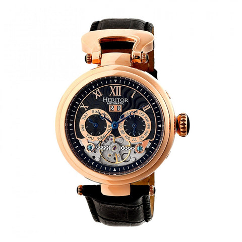 Heritor Automatic Ganzi Semi-Skeleton Leather-Band Watch - Rose Gold/Black HERHR3306