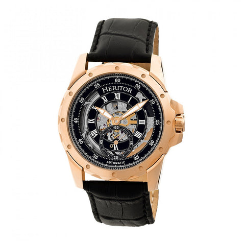 Heritor Automatic Armstrong Skeleton Leather-Band Watch - Rose Gold/Black HERHR3406