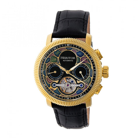 Heritor Automatic Aura Men's Semi-Skeleton Leather-Band Watch - Gold /Black HERHR3502