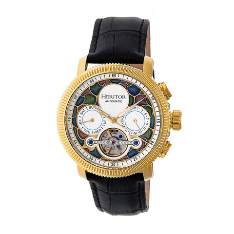 Heritor Automatic Aura Men's Semi-Skeleton Leather-Band Watch - Gold/White HERHR3505