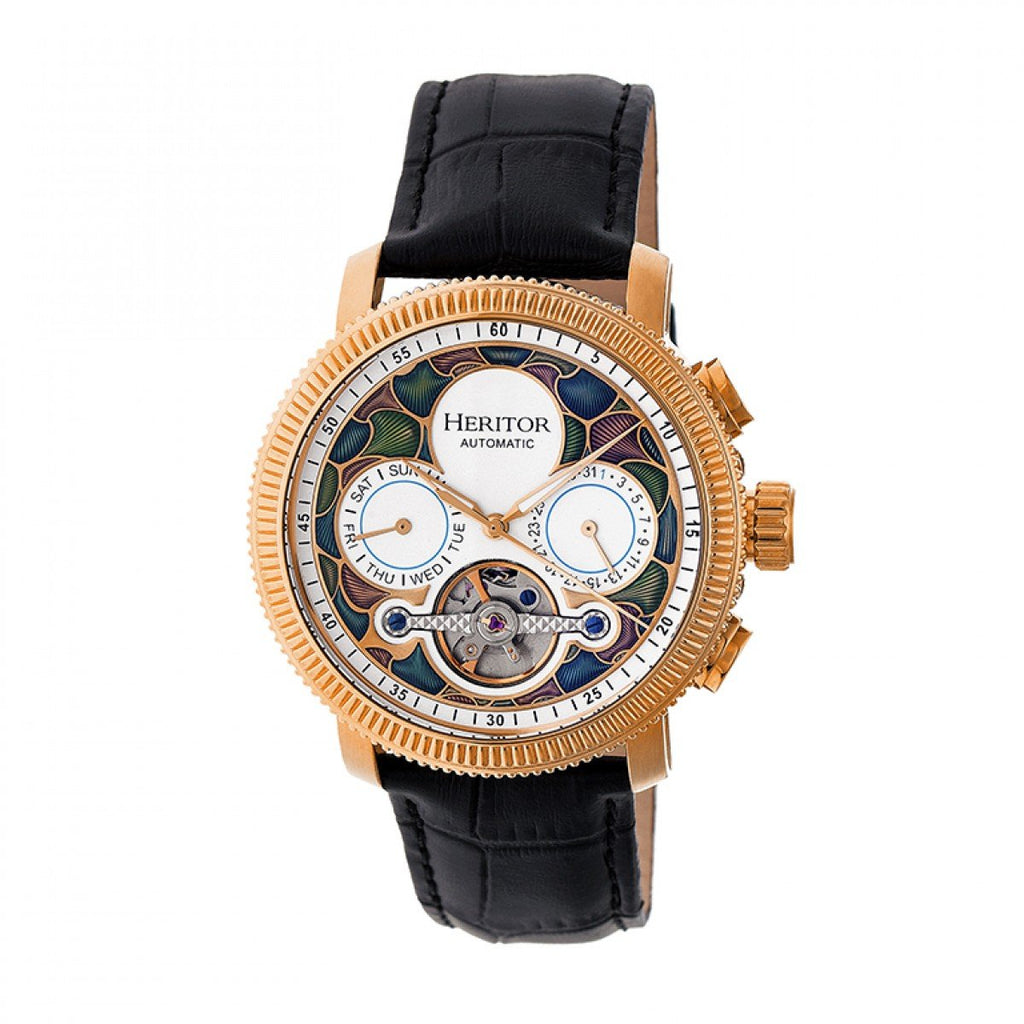 3c83fb8a2 Heritor Automatic Aura Men's Semi-Skeleton Leather-Band Watch - Rose Gold /White