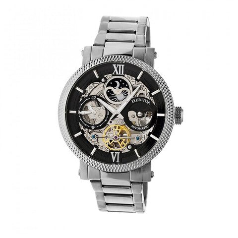 Heritor Automatic Aries Skeleton Dial Bracelet Watch - Silver/Black HERHR4402