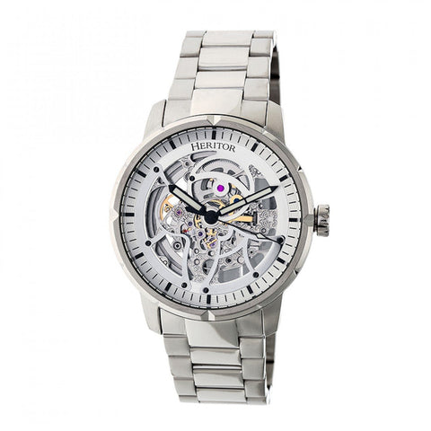 Heritor Automatic Ryder Skeleton Dial Bracelet Watch - Silver/White HERHR4607