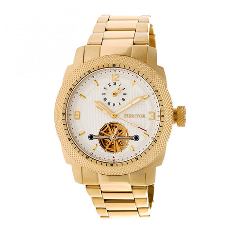 Heritor Automatic Helmsley Semi-Skeleton Bracelet Watch - Gold/White HERHR5003