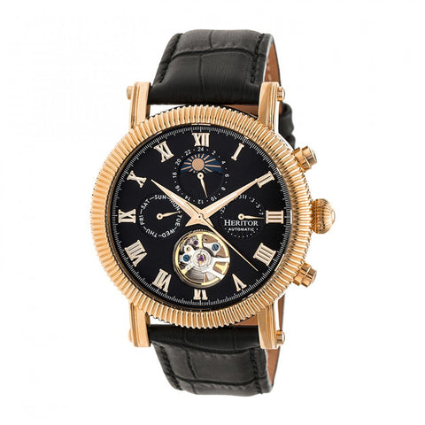 Heritor Automatic Winston Semi-Skeleton Leather-Band Watch - Rose Gold/Black HERHR5206