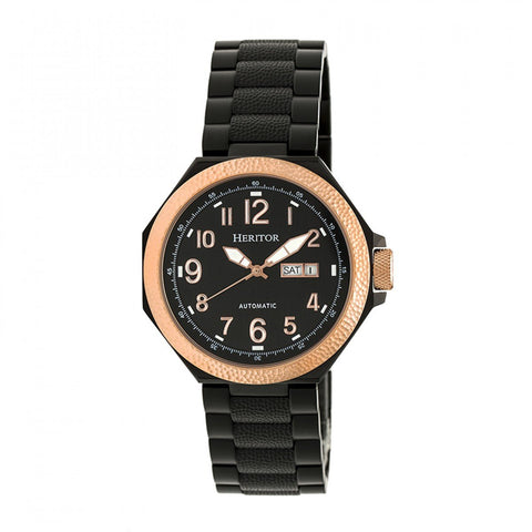 Heritor Automatic Spartacus Bracelet Watch w/Day/Date - Rose Gold/Black HERHR5406