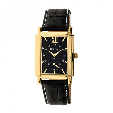 Heritor Automatic Frederick Leather-Band Watch - Gold/Black HERHR6103