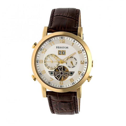 Heritor Automatic Edmond Leather-Band Watch w/Date - Gold/Silver HERHR6203