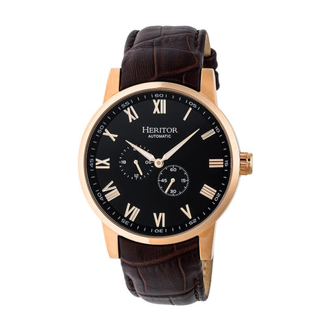 Heritor Automatic Romulus Leather-Band Watch - Rose Gold/Black HERHR6406