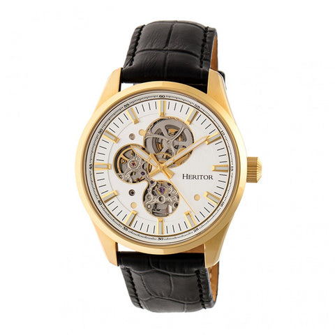 Heritor Automatic Stanley Semi-Skeleton Leather-Band Watch - Gold/Silver HERHR6505