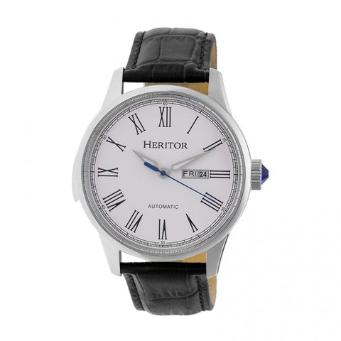 Heritor Automatic Prescott Leather-Band Watch w/ Day/Date - Silver HERHR6701