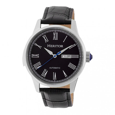Heritor Automatic Prescott Leather-Band Watch w/ Day/Date - Silver/Black HERHR6702