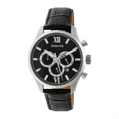 Heritor Automatic Benedict Leather-Band Watch w/ Day/Date - Silver/Black