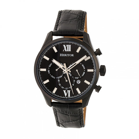Heritor Automatic Benedict Leather-Band Watch w/ Day/Date - Black HERHR6805