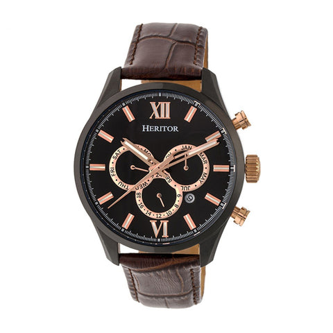 Heritor Automatic Benedict Leather-Band Watch w/ Day/Date - Black/Dark Brown HERHR6806