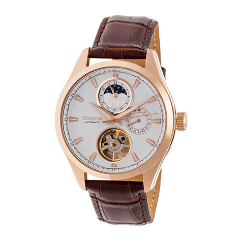 Heritor Automatic Sebastian Semi-Skeleton Leather-Band Watch- Rose Gold/White HERHR6904