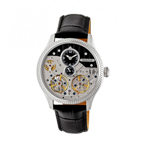 Heritor Automatic Winthrop Leather-Band Skeleton Watch - Silver/Black HERHR7302