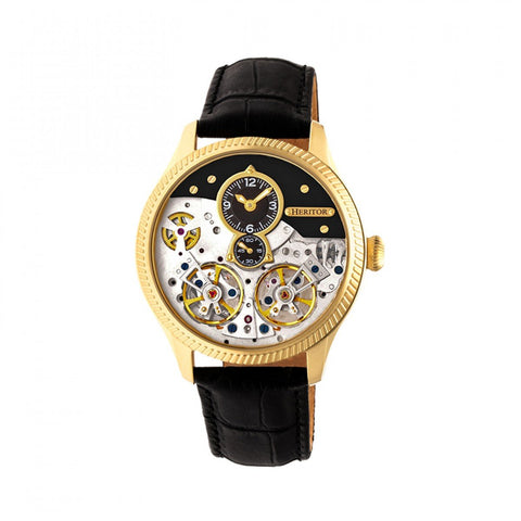 Heritor Automatic Winthrop Leather-Band Skeleton Watch - Gold/Black HERHR7304