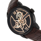 Heritor Automatic Sanford Semi-Skeleton Leather-Band Watch - Black/Brown HERHR8306