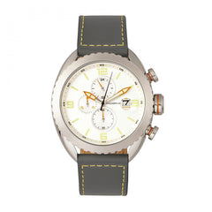Morphic M64 Series Chronograph Leather-Band Watch w/ Date - Silver/Grey