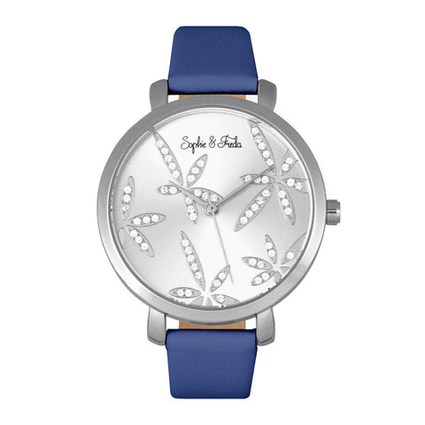 Sophie & Freda Key West Leather-Band Watch - Silver/Blue