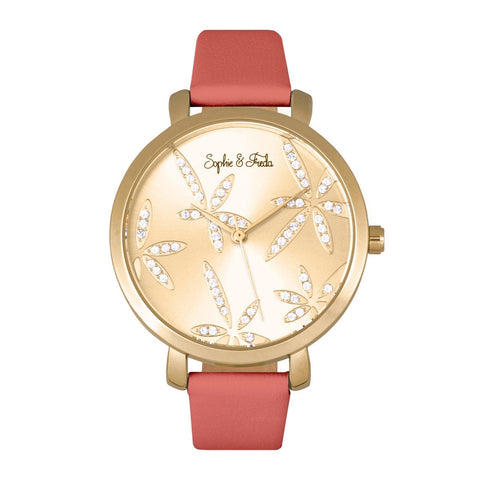 Sophie & Freda Key West Leather-Band Watch - Gold/Dark Pink