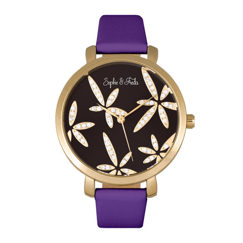 Sophie & Freda Key West Leather-Band Watch - Gold/Purple