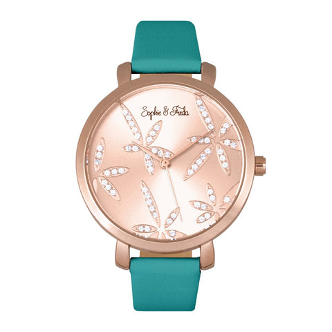 Sophie & Freda Key West Leather-Band Watch - Rose Gold/Teal