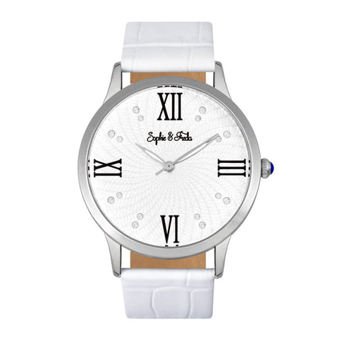 Sophie & Freda Sonoma Leather-Band Watch - Silver/White