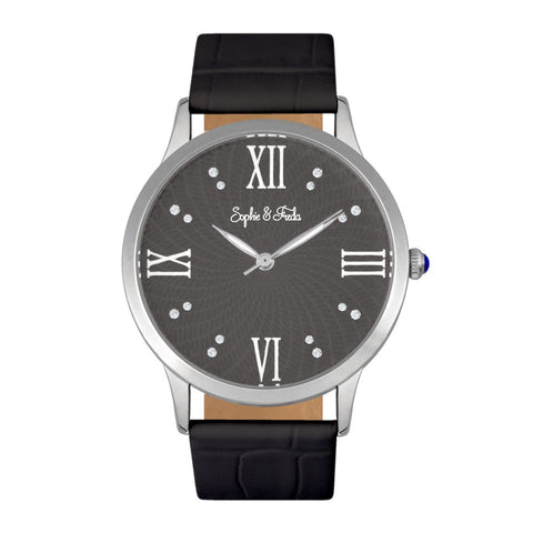 Sophie & Freda Sonoma Leather-Band Watch - Silver/Black