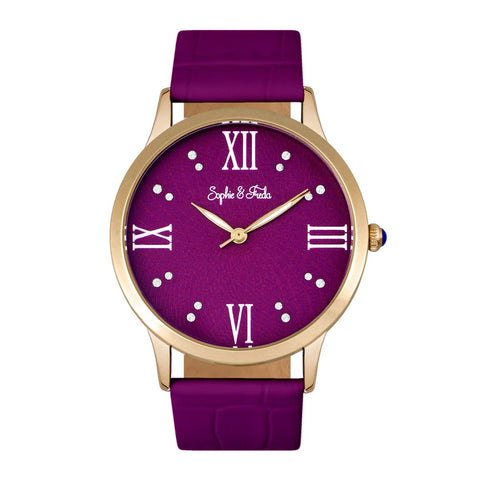 Sophie & Freda Sonoma Leather-Band Watch - Gold/Fuchsia
