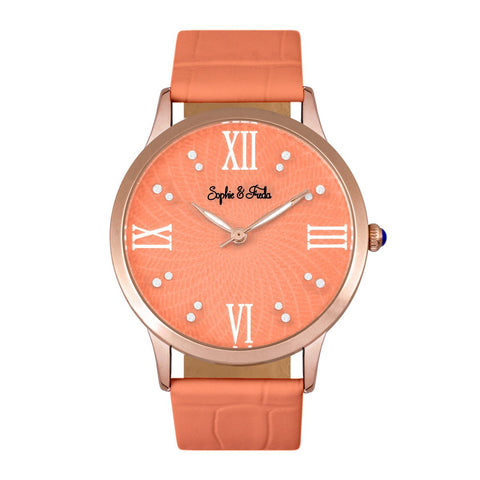 Sophie & Freda Sonoma Leather-Band Watch - Gold/Coral
