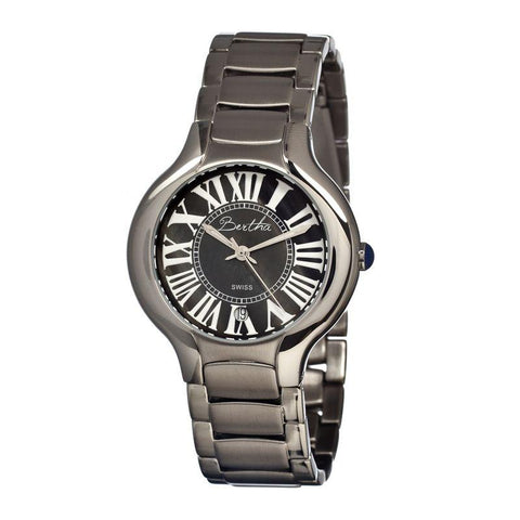 Bertha Maude MOP Ladies Swiss Bracelet Watch - Silver/Black BTHBR2602
