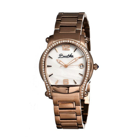 Bertha Fiona MOP Ladies Bracelet Watch w/ Date - Rose Gold/White BTHBR2904