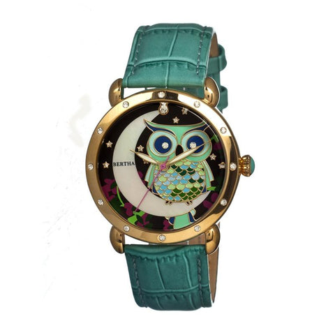 Bertha Ashley MOP Leather-Band Ladies Watch - Gold/Teal BTHBR3003