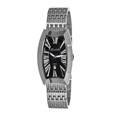 Bertha Laura Ladies Swiss Bracelet Watch w/Date - Silver/Black BTHBR3202