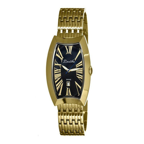 Bertha Laura Ladies Swiss Bracelet Watch w/Date - Gold/Black BTHBR3204