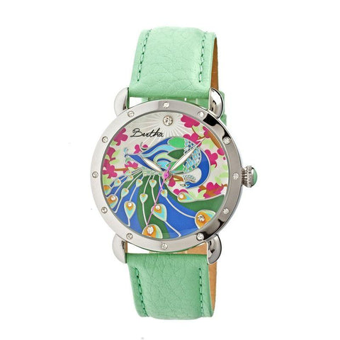 Bertha Didi MOP Leather-Band Ladies Watch - Mint BTHBR2806