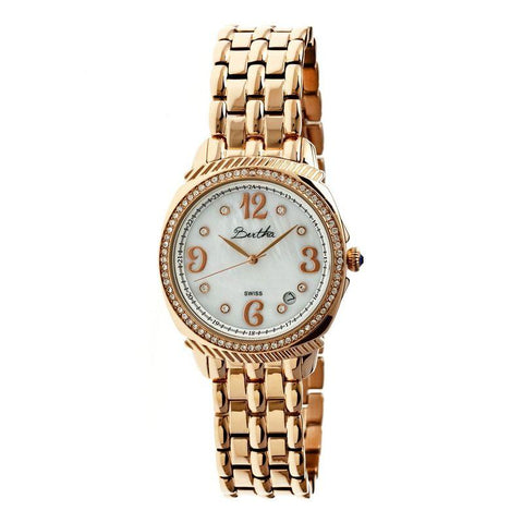 Bertha Samantha MOP Ladies Swiss Bracelet Watch - Rose Gold/White BTHBR3905