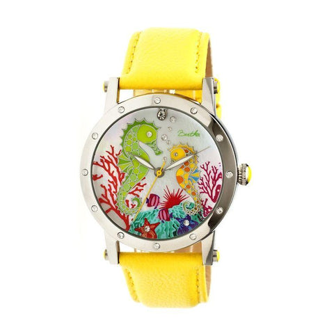 Bertha Morgan MOP Leather-Band Ladies Watch - Silver/Yellow BTHBR4202