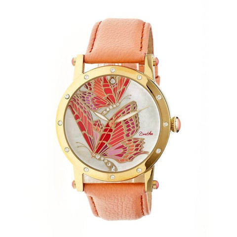 Bertha Isabella MOP Leather-Band Ladies Watch - Gold/Coral BTHBR4303