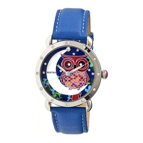 Bertha Ashley MOP Leather-Band Ladies Watch - Silver/Blue BTHBR3005