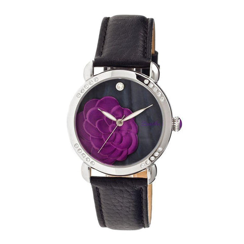 Bertha Daphne MOP Leather-Band Ladies Watch - Black BTHBR4603