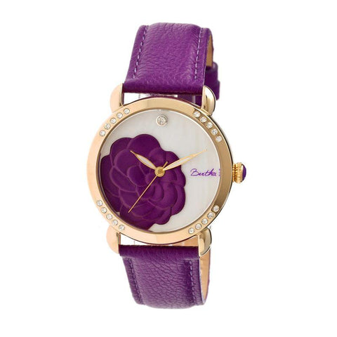 Bertha Daphne MOP Leather-Band Ladies Watch - Purple/White BTHBR4606