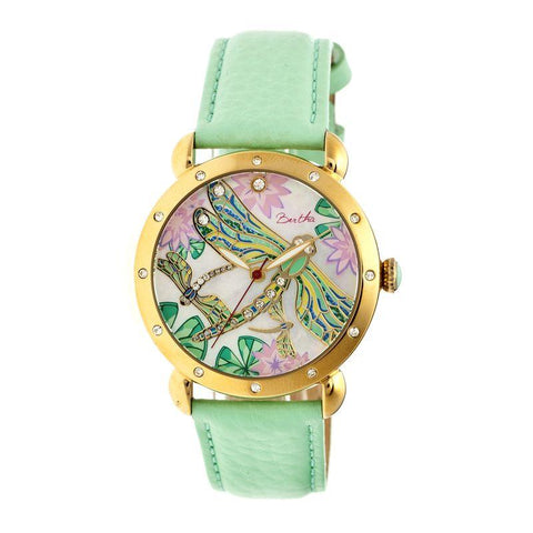 Bertha Jennifer MOP Leather-Band Ladies Watch - Gold/Mint BTHBR5003