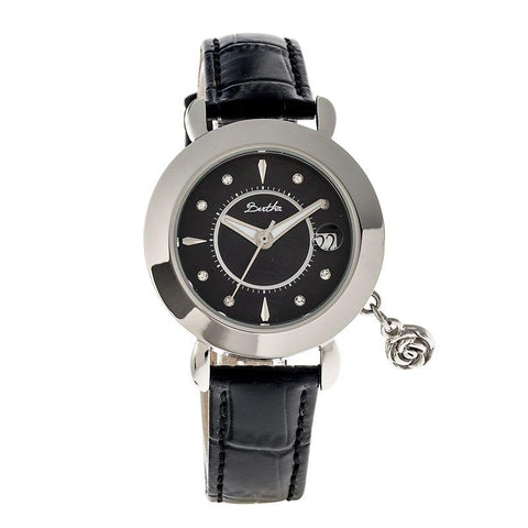 Bertha Rose MOP Leather-Band Ladies Watch w/ Date - Silver/Black BTHBR5502