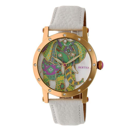 Bertha Betsy MOP Leather-Band Ladies Watch - Gold/White BTHBR5703
