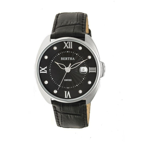 Bertha Amelia Leather-Band Watch w/Date - Black BTHBR6304