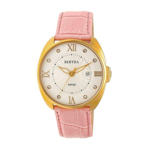 Bertha Amelia Leather-Band Watch w/Date - Light Pink BTHBR6305